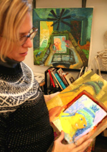 "The artist shows ""The Hat,"" the first painting in her iPad-inspired series."