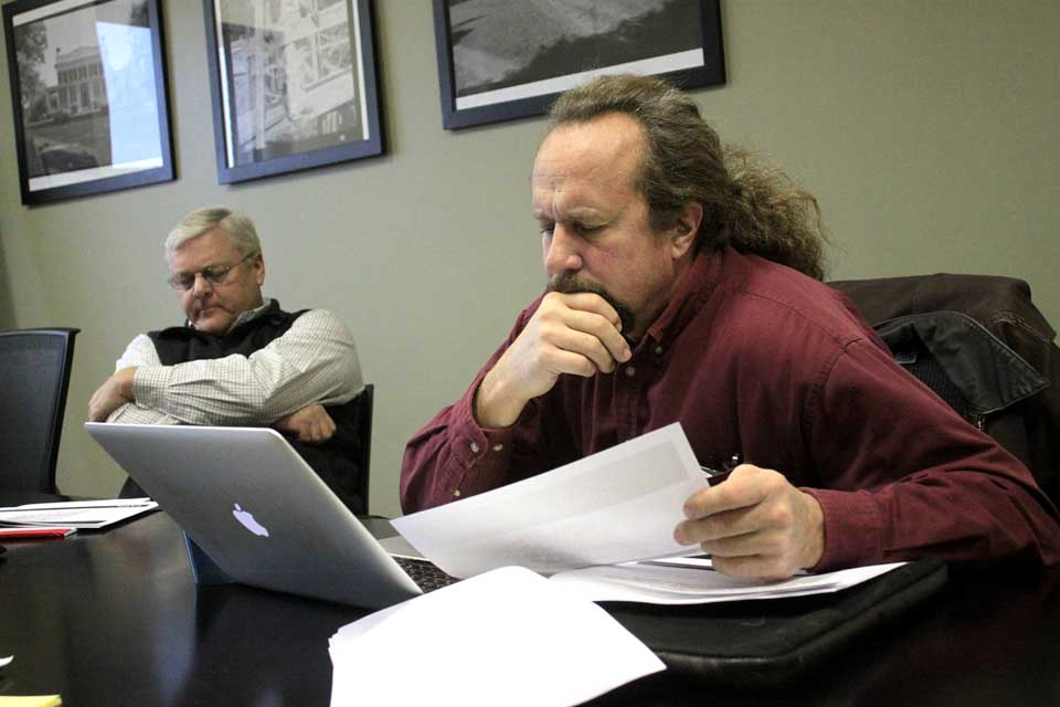 County Rep. Ed Lentz, D-New Lisbon, right, and IDA President Sandy Mathes participate in Tuesday's PowerPoint/conference call where FARR Technologies partner Pater Rasmusson outline a detailed $30 million plan to extend high-speed Internet service throughout Otsego County.  (Ian Austin/allotsego.com)