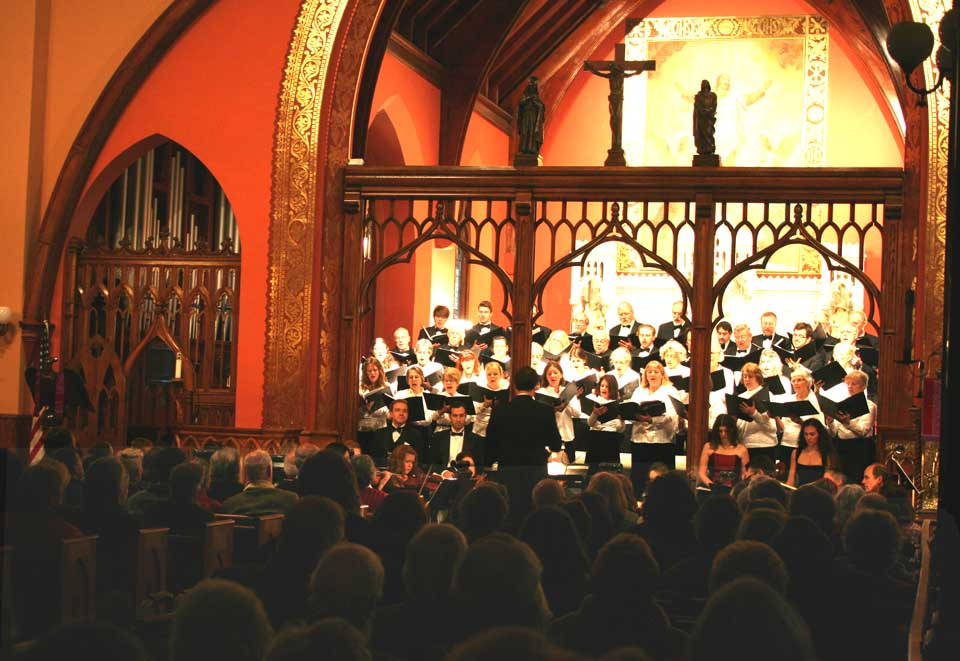 "The Voices of Cooperstown's annual Christmas concert – selections from Bach's ""Christmas Oratorio"" – filled Christ Episcopal Church Saturday afternoon.  (Jim Kevlin/allotsego.com)"