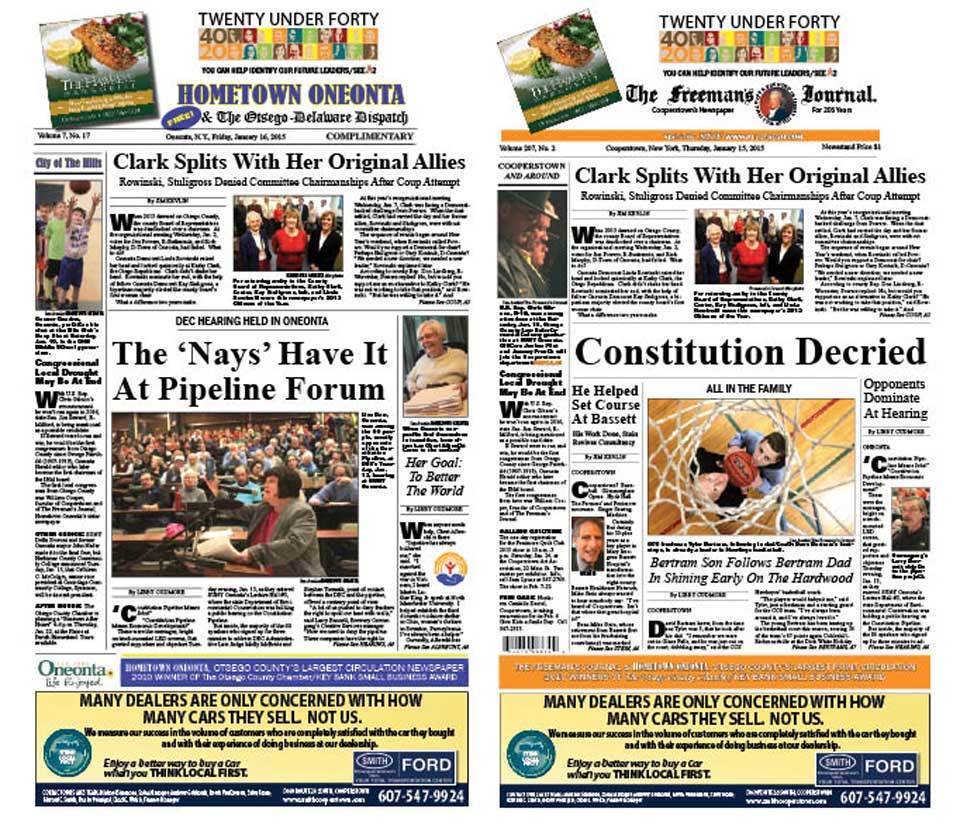 In both papers this week, the unsuccessful coup to topple county Board Chair Kathy Clark, R-Otego, is explored.  Also, Tuesday night's hearing on the Constitution Pipeline.  In Hometown Oneonta, there is also a profile of Cheri Albrecht, who has repeatedly come to the rescue when non-profits need interim guidance.  The Freeman's Journal looks at Mike Stein's three-decade view from the top as Mary Imogene Bassett Hospital transformed itself into the eight-county Bassett Healthcare Network.