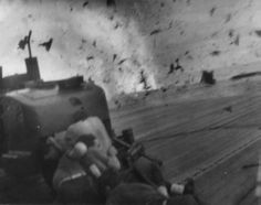 An image from the kamikaze attack on the USS Santee, which Bill Bowes remembered all his days.