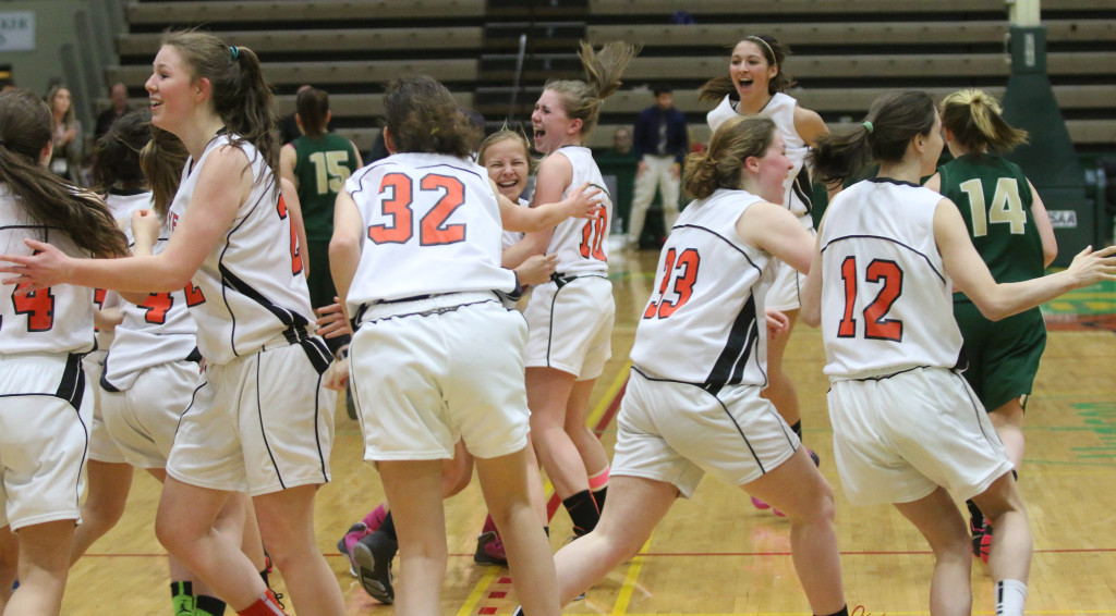 Elated CCS Lady Hawkeyes leap with joy at winning the state finals this afternoon against Northern Adirodack, 64-34.  (Brian Horey/allotsego.com)