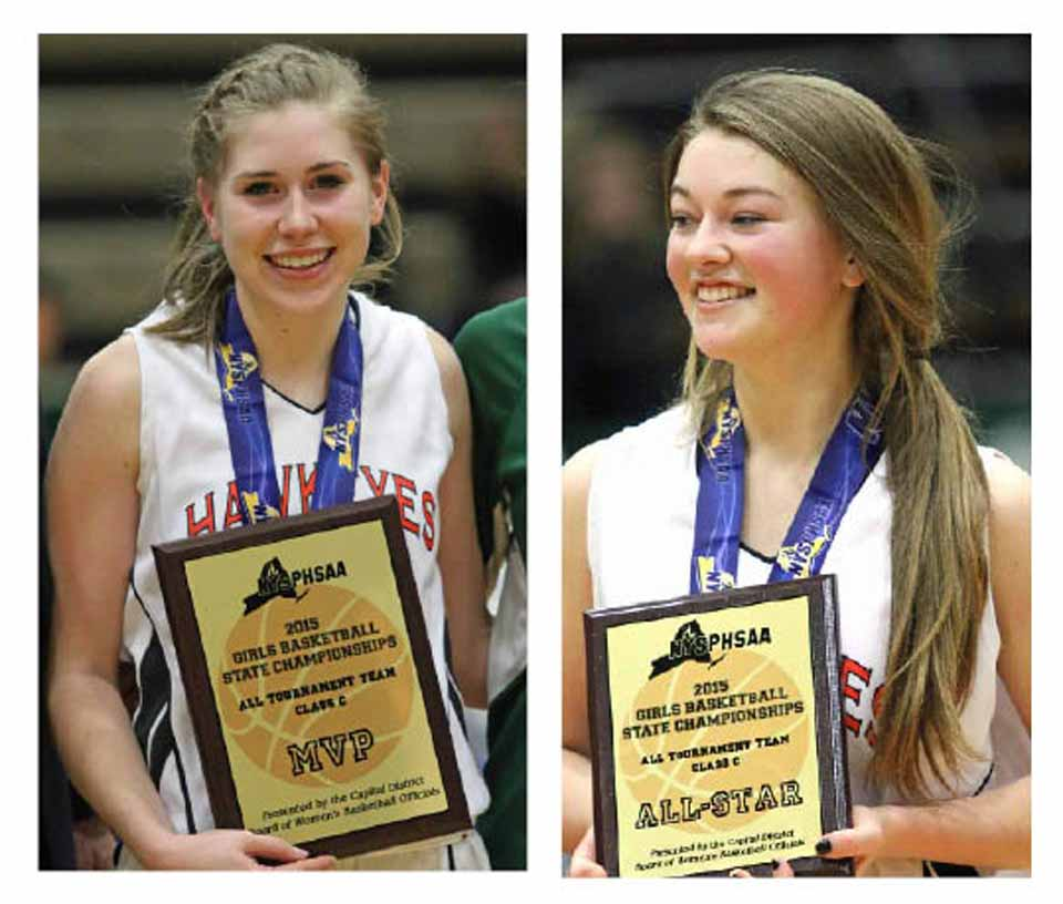 Liz Millea, left, won MVP honors today.  Jen Flynn, right, was among the cadre of girls, including the Noto sister, Mallory Arthurs and others, who helped carry the team to state-final victory.  (Brian Horey/allotsego.com)