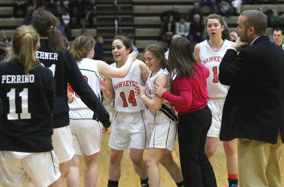Hugs and congratulations were the order of the afternoon when Coop beat Chautauqua Lake.