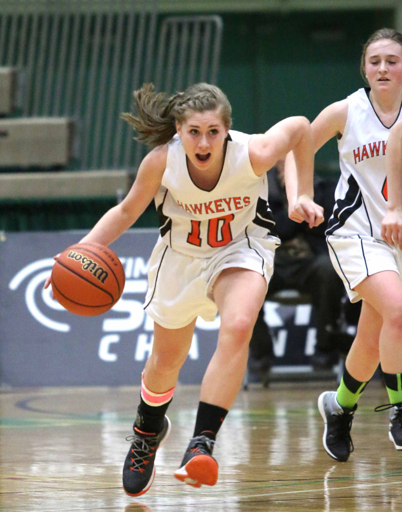 Cooperstown's Liz Millea shows her winning style, breaking for the basket in today's 59-50 victory over Chautauqua Lake.  CCS goes to the finals Sunday.  (Brian Horey/allotsego.com)