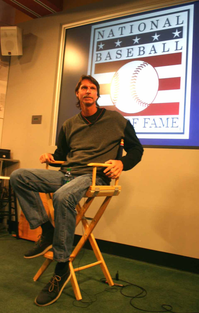 Randy Johnson, who took the Arizona Diamondbacks to a World Series title, answers questions a few minutes ago during a press briefing in the Hall of Fame's Bullpen Theater.  Johnson, who will  be inducted into the Hall on July 26 before an anticipated crowd of 50,000 people, is in Cooperstown today for pre-Induction tour and briefing.  (Jim Kevlin/allotsego.com)