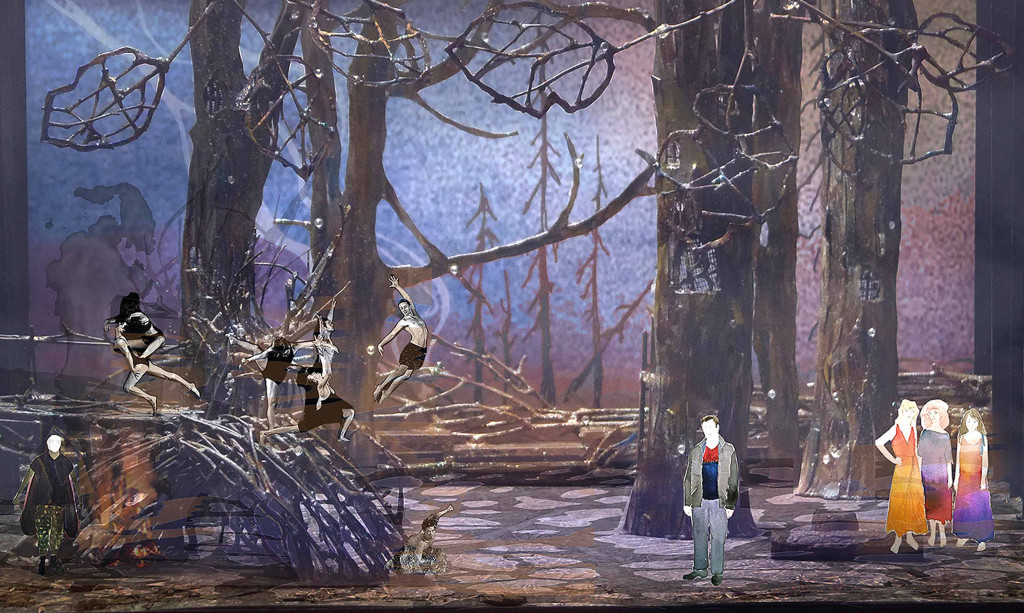 "This set rendering of Glimmerglass' ""Magic Flute"" is the vision of set designer Troy Hourie and costume designer Kaye Voyce.  (Courtesy Glimmerglass Opera)"