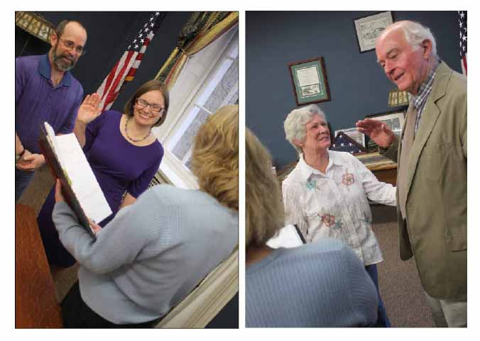 Cindy Falk, left, with husband Glenn, and Jim Dean, right, with wife Eleanor, were sworn in to new terms on the Cooperstown Village Board this evening by Village Clerk Teri Barown.  (Ian Austin/allotsego.com)