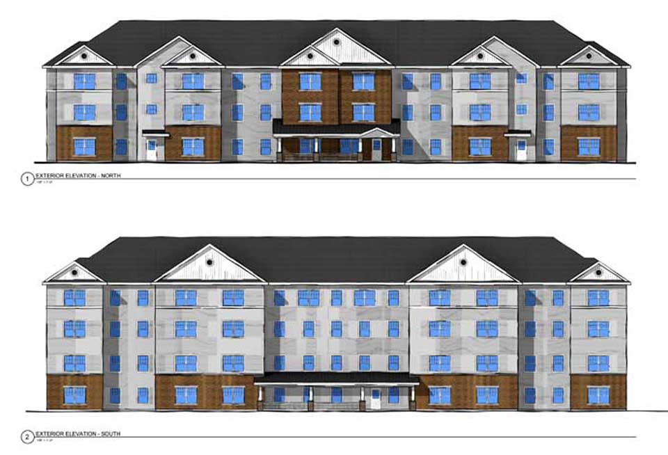 Here is Housing Visions' artist's rendering for the 40 units of senior-citizen housing at the end of the Spruce Street Extension in Oneonta's Silver Creek section.  A $60 million state grant received this week will leverage $150 million in total to create 60 units of new and renovated housing in the city, part of efforts by the Mayor's Housing Task Force to bring more people into the community.