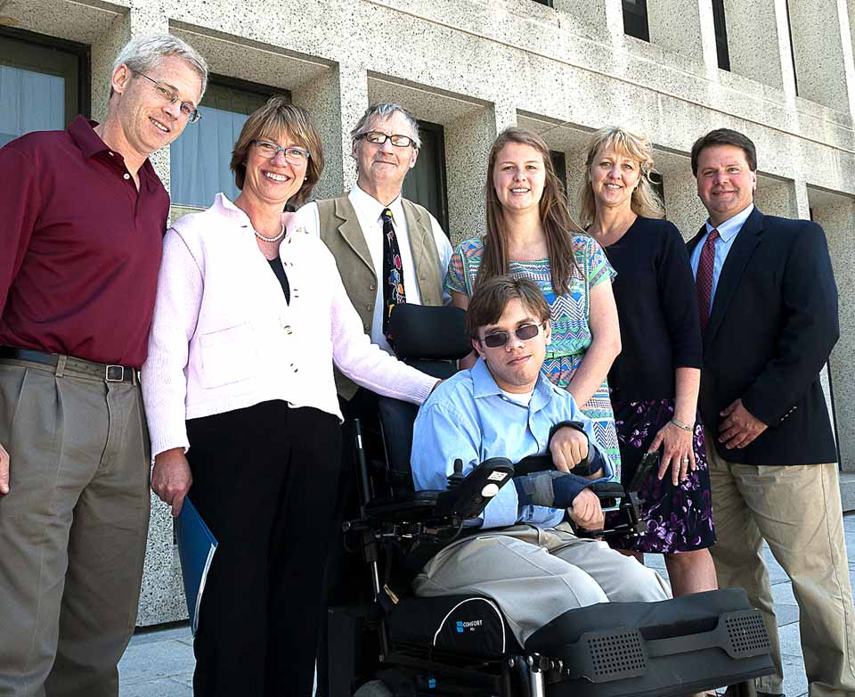 From left are John Dewey, MD, Jeanne Dewey, scholarship recipient Patrick Dewey, Robert Bassett, scholarship recipient McKenna Hage, Dawn Hage, Chris Hage.