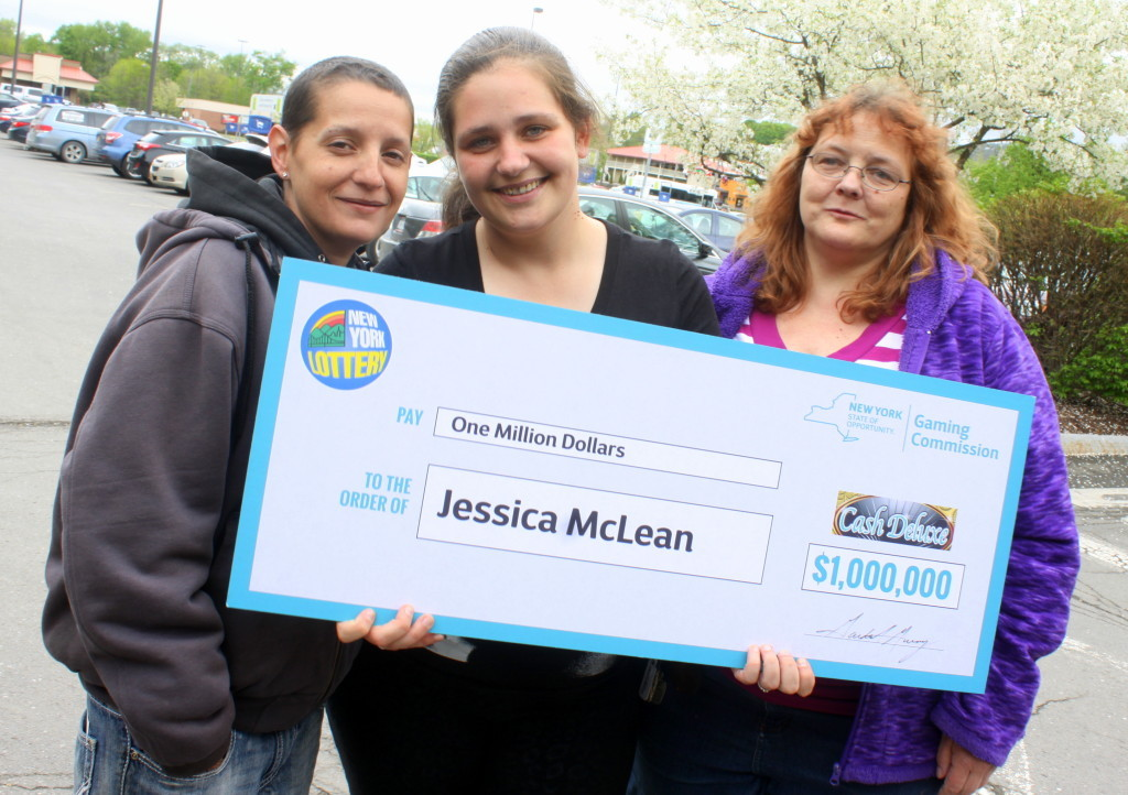 Christmas came early for Jessica McLean, who purchased a lottery ticket at the Oneonta Hannaford that ended up being a winner for 1 Million dollars! Jessica is pictured here with Christina Helm, left, and Heidi Elie, right. (Ian Austin/allotsego.com)
