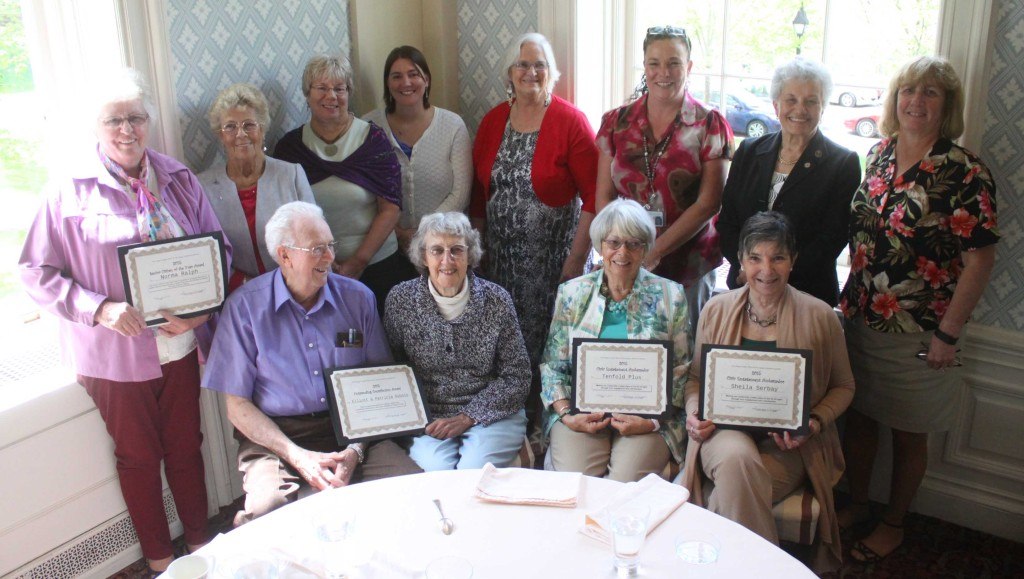 The Otsego County Office for the aging recognized a group of their volunteers at the Otesaga Hotel on Friday afternoon. Top row from left: Norma Ralph, Mary Carson, Ruth Schaffer, Jessica Guenther, Moira Beach, Janet Quackenbush, Marie Lusins, Jane Clark. Bottom row: Elliot Dubois, Patricia Dubois, Betty Bettiol and Sheila Serbay. (Ian Austin/allotsego.com)