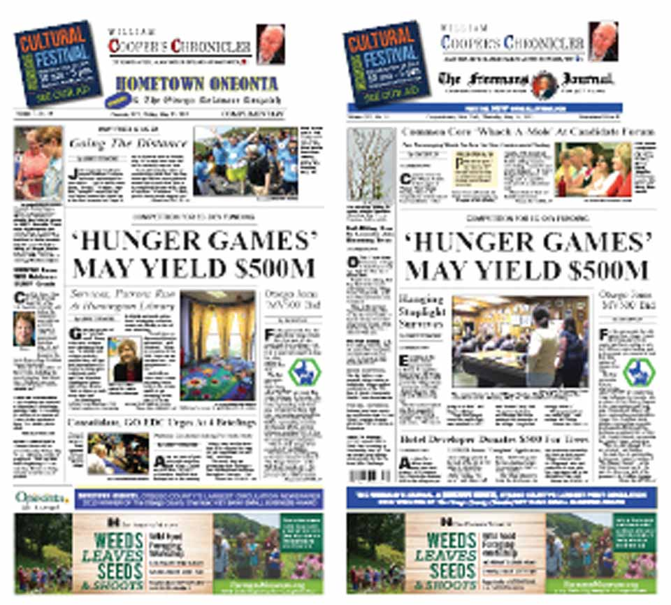 "Both newspapers lead off with Otsego and five other counties in the Mohawk Valley Region mounting an energetic, focused effort to obtain $500 million from Governor Cuomo's Upstate Development Fund, perhaps by year's end.  Such an award would be transformative, participants are saying.  A particular treat in this week's edition is an interview with Alan Taylor, who published ""William Cooper's Town.""  He spoke last week at Hartwick College."