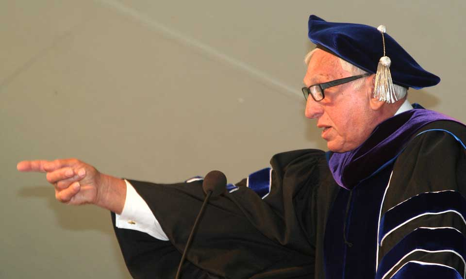 Stephen L. Green,'59, told Hartwick College's 350 graduates today that they should learn from life's inevitable disappointments, and not give up. He told how shares in his SL Green Realty Corp., the largest holder of Manhattan office space, dropped from $160 to $8 after the 2008 crash, a heavy blow at the time. Today, the company is worth $13 billion and recently joined the S&P 500. He also recognized Hartwick's winningest coach, Nick Lambros, right, who was in the audience to cheer on his pal. The two played on Hartwick teams together when they were students in the 1950s.