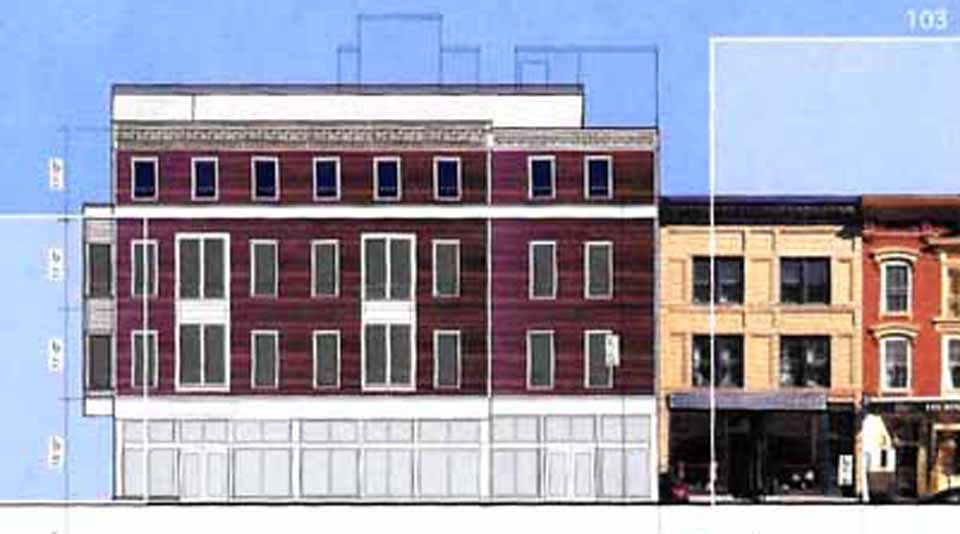 Artist's rendering shows the four-story proposed hotel next to Cooperstown Bat Co., it's three-story neighbor.