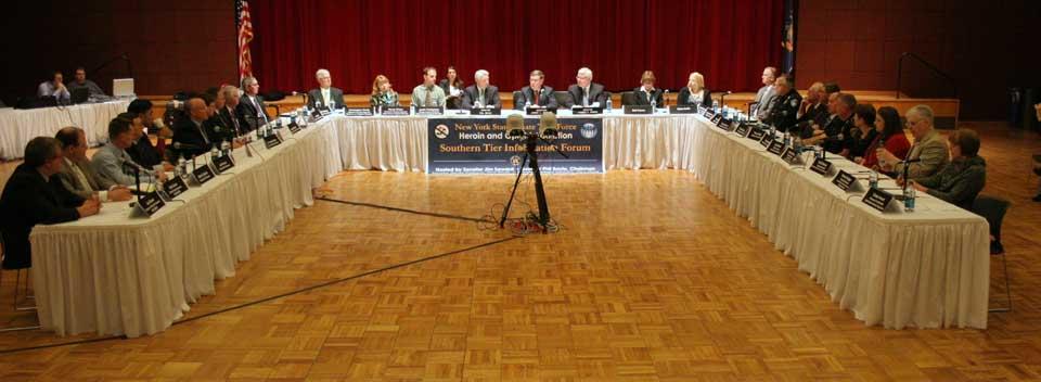 Senator Seward hosted the state Legislature's Joint Task Force on Heroin & Opioid Addiction April 28, 2014, at SUNY Oneonta's Hunt  Union Ballroom.