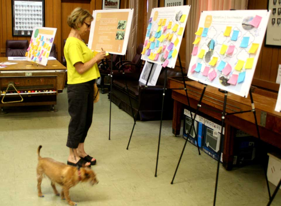 """Sydney Waller's dog Friday was the sole four-legged attendee at a """"Community Open House"""" Thursday at the Cooperstown fire hall, but 90 human beings also attended.  They left remarks on 16 """"idea stations"""" that will be folded into the Comprehensive Plan Update process.  Lisa Nagle of Elan Planning, Saratoga Springs, said her group will be reporting back to the public in early fall, with the plan due for completion next spring.  (Jim Kevlin /allotsego.com)"""
