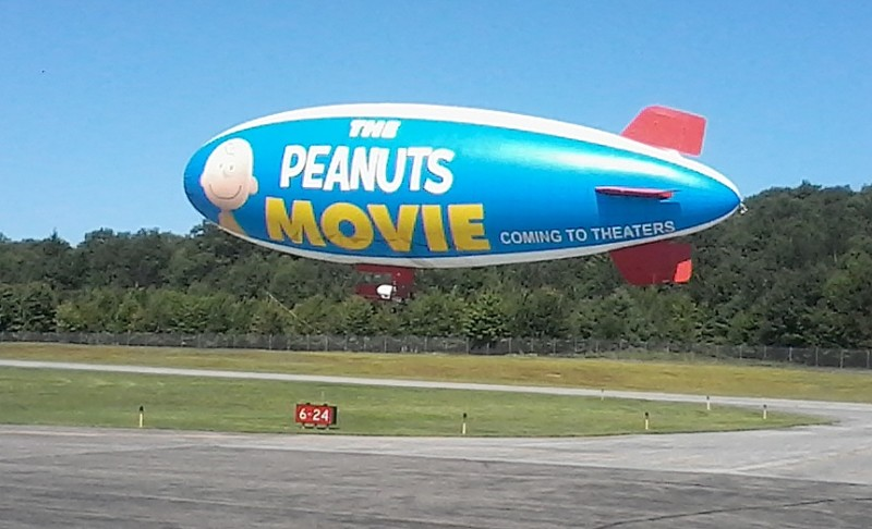 The Peanuts Blimp passes by the Oneonta Municiple Airport before heading back towards Cooperstown. (Contributed by Dan Bentley)