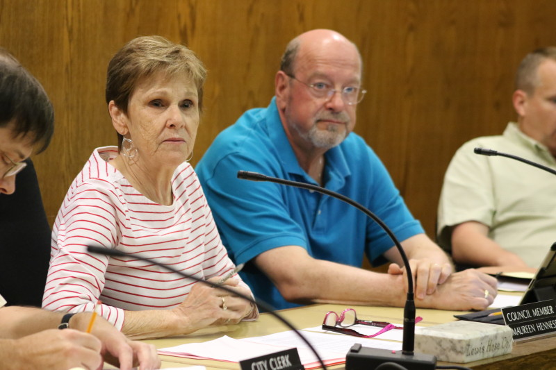 Acting Mayor Maureen Hennessey, seated next to City Attorney David Merzig, agreed to sign a severance agreement for former city manager Martin Murphy . (Ian Austin/ allotsego.com)