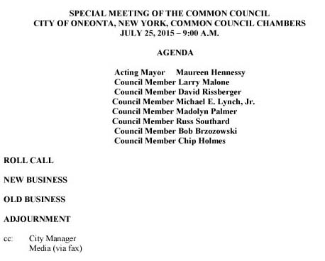 A few minutes ago, City Hall issued this agenda for the 9 a.m. Saturday special meeting, presumably called to discuss developments in the situation involving the suspension of City Manager Martin Murphy in advance of his dismissal.  As of Tuesday's Council meeting, Murphy had not responded to Council's offer that he resign and accept a quarter year's salary ($27,000).  It could not be confirmed if Murphy had accepted the offer, presented a counter-offer or plans legal action.   The public is invited to attend Saturday's meeting.