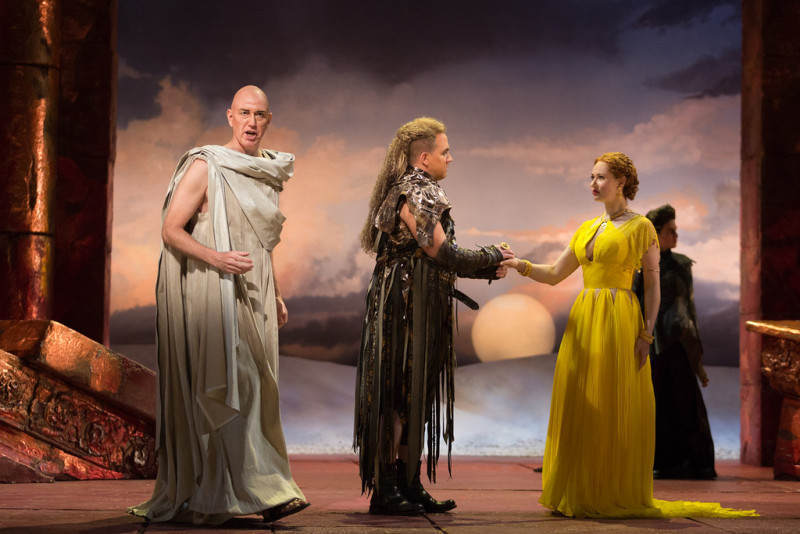 "Thomas Michael Allen as Cato, Eric Jurenas as Arbace and Megan Samarin as Marzia in The Glimmerglass Festival's 2015 production of Vivaldi's ""Cato in Utica."" (Karli Cadel/The Glimmerglass Festival)"
