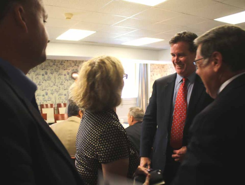 Kathy Clark, R-Otego, chair, Otsego County Board of Representatives, greets Flanagan, making his first visit to the county since succeeding Dean Skelos as majority leader.  At left is county Rep. Rick Hulse, R-Fly Creek.  At right is Senator Seward, who hosted this morning's event.