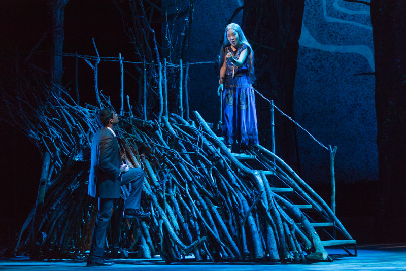 "Sean Panikkar as Tamino and So Young Park as Queen of the Night in The Glimmerglass Festival's 2015 production of Mozart's ""The Magic Flute."" (Karli Cadel/The Glimmerglass Festival)"