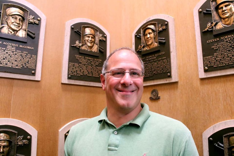 Cooperstown Mayor Jeff Katz, the first mayor in decades who is also a baseball fan, visits the Hall of Plaques.  Over his right should is the plaque of his Mets' hero Tom Seaver.  (Jim Kevlin/allotsego.com)