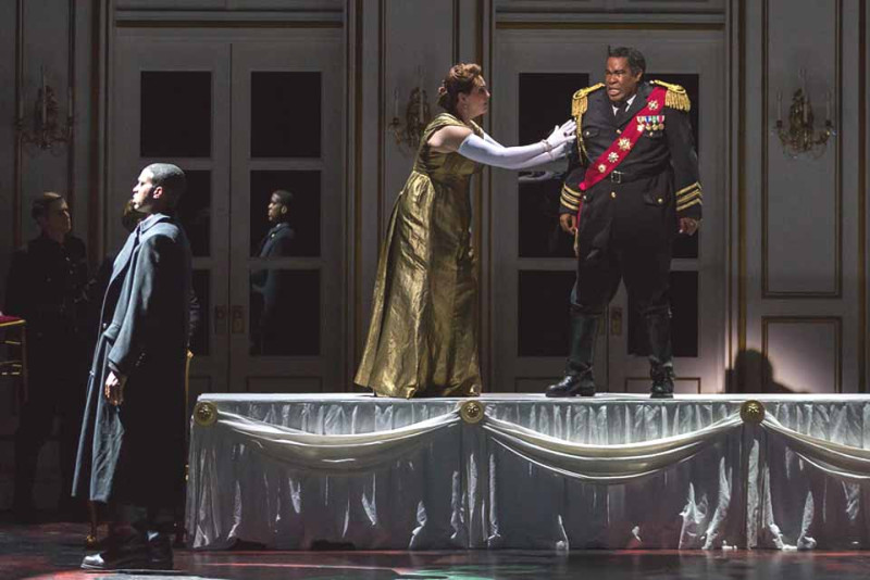 "Soloman Howard as Banquo, Melody Moore as Lady Macbeth and Eric Owens as Macbeth in The Glimmerglass Festival's 2015 production of ""Macbeth."" (Karli Cadel/The Glimmerglass Festival)"