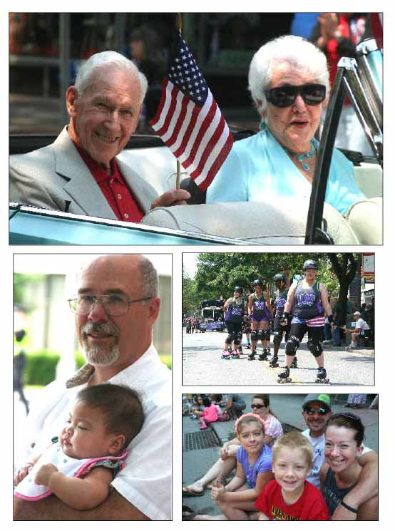 Rain-delayed for 24 hours, Oneonta's third annual Independence Day parade nonetheless lined main street with a cheering crowd at noon today. In top photo are Grand Marshals Tony and Marcella Drago (Coach Drago celebrated his 93rd birthday on the Fourth.) At left, Pastor Ken Zulkosky, Main Street Baptist Church, escorts his granddaughter, Ariana Huynh, 7 months, to her first parade. Right center, The Hill City Rollers, Oneonta's roller-derby team, was, as always, a hit. Lower right, Oneonta's Ewing family, Isabel, 11, Jack 8, mom Sarah and dad Joe, prepared to be wowed. After the parade, the crowd recessed to Neahwa Park for an afternoon of activities. (Jim Kevlin/allotsego.com)