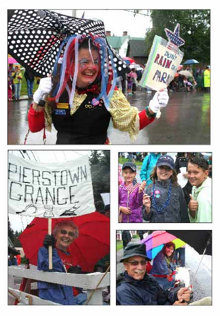 The 101st Springfield Fourth of July Parade happened this morning in a warm drizzle, but failed to douse smiles along the parade route. Clockwise from top, Rosie the Polka-Dotted Clown (aka Abby Koutnik) had the right sign, but Mother Nature ignored it; among those cheering on the parade route were Albert and Christine Weiss' visiting grandchildren – Claire Payne, 8, center, flanked by Maya, 6, and Ryan, 10 Squires; as usual, retired SUNY President Alan Donovan was along the parade route (his wife, Anne, was a judge) and SUNY Dean Susan Turrell. Below left is Velma Armstrong, Pierstown, who was trying something new at age 84 – she'd never ridden on a parade float, but took up the invitation of the Tanner Hill Herb Farm to promote the Pierstown Grange. (Jim Kevlin/allotsego.com)