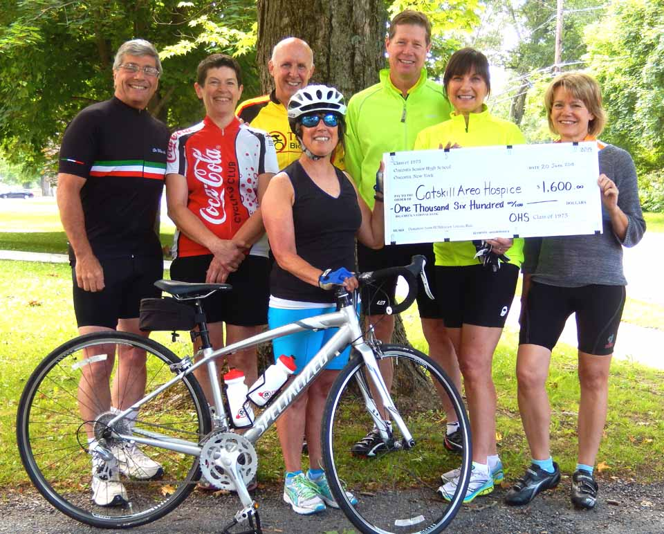The Oneonta High School Class of 1975 raised $1,600 in its annual FUNraising cycling ride in June.  Steve Talevi, OHS '75, now of Roanoake, Va., sends along this photo of participating classmates, including, from left, Steve, Janice Thomas, North Adams, Mass.; Terry Waters, Gaithersburg, Md.;  Carolyn Marks, Oneonta; Larry and Fran Callahan, Rexford; and Sue Clemons, Oneonta.  Donations made after the ride, circling from and back to Morris on June 20, raised the total figure to $1,865.00.  Donations came from cyclists, their classmates, friends and family members.