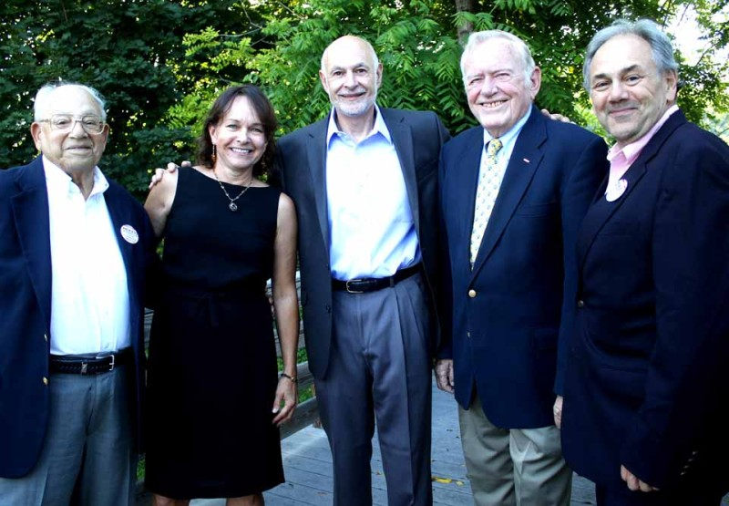 """The sole candidate for mayor of Oneonta, Gary Herzig, is flanked by four past mayors at a """"celebration and fundraiser this evening at the Sixth Ward Athletic Club. From left are former mayors Sam Nader, Kim Muller, David Brenner and John Nader. (Jim Kevlini/allotsego.com)"""