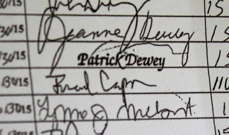 """Republicans are challenge Patrick Dewey's signature on Democrat Andy Marietta's petitions to run for the District 8 seat on the county Board of Representatives.  Because he has Cerebral Palsy and cannot sign his name, Dewey uses a stamp, then write his """"mark"""" above it.  (allotsego.com photo)"""