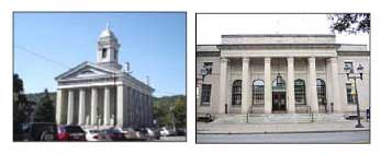 Norwich City Hall, left, and Oneonta's had discussed sharing the services of the latter's finance director.