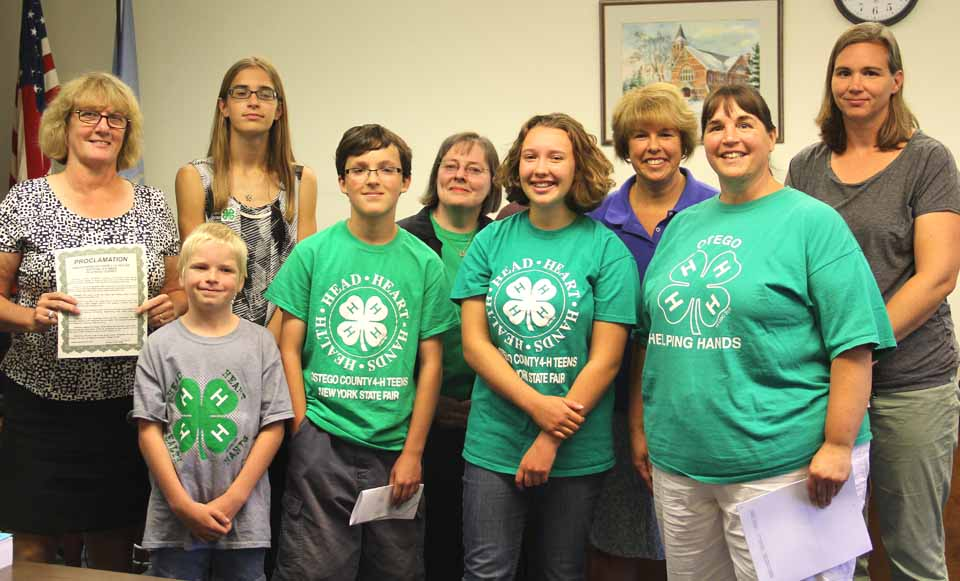 Good to see you this morning at the Board of Representatives September meeting. Attached is the photo of Chair, Kathy presenting the Proclamation of National 4-H Week in Otsego County. Photo credit goes to Don Smyers. National 4-H Week is October 4-10, 2015. Photo: National 4-H Week 2015 Proclamation in Otsego County L-R, back row: Chair, Kathy Clark, Martha Modinger, Patti Zellmer, Mary Kennedy; front row: Josh Nelson, Andrew Lentner, Louisa Emhof, Ruth Modinger I have also attached the text of the Proclamation for National 4-H Week 2015.
