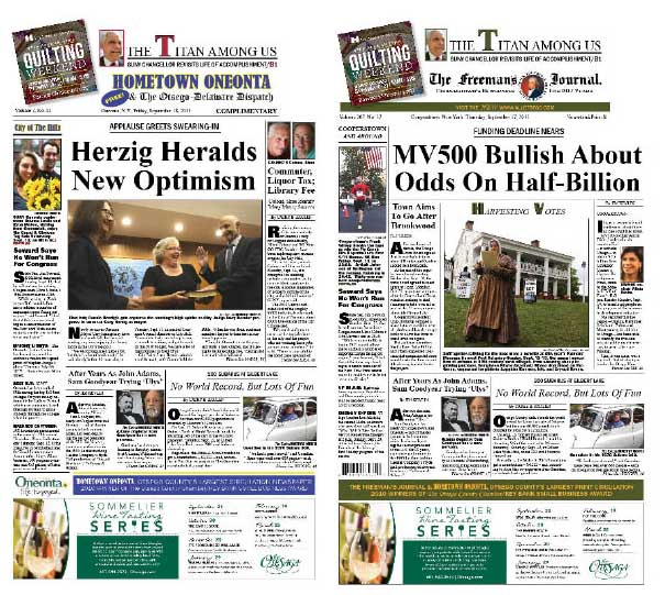 This week's Hometown Oneonta reports on incoming Mayor Herzig's upbeat inaugural speech. The Freeman's Journal recounts bullish MV500 meeting, where optimism was expressed about obtaining $500,000 for economic development from Governor Cuomo's Upstate Development Fund.