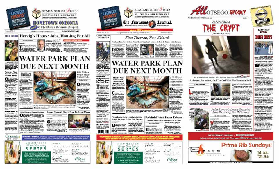 A feasibility study on the $160 million waterpark for Otsego county may be ready in a month. Details in this week's newspapers, plus poliltical letters and ghost stories.