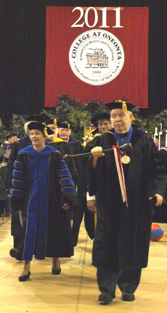 An uncharacteristically wistful Dr. Larkin leads the recessional for the last time at SUNY Oneonta's 2011 commencement.