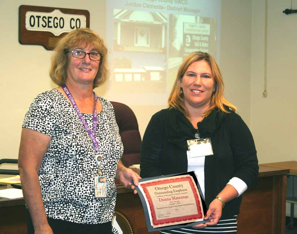 It was a proud moment for Services Aide Donna Mateunas. In a ceremony before Wednesday's regular monthly meeting of the Otsego County Board of Representatives, Donna Mateunas was presented with an Outstanding Employee Award. Mateunas said she visits senior citizens who receive home delivered meals. She takes pride in helping clients stay in their homes. Matreunas started with the county two days before her 18th birthday and has remained for the past 21 years.