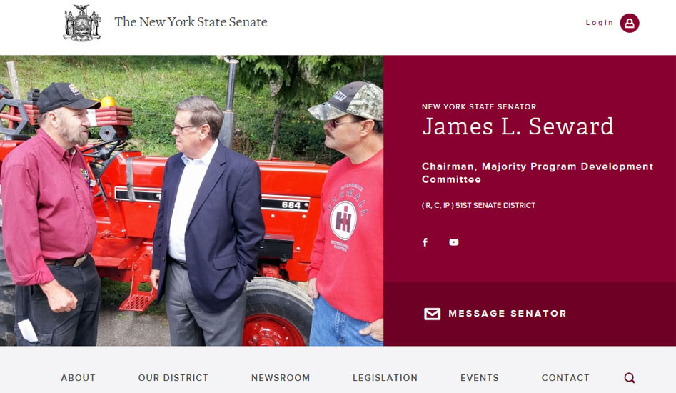 State Sen. Jim Seward, R-Milford, launched a new website over the weekend