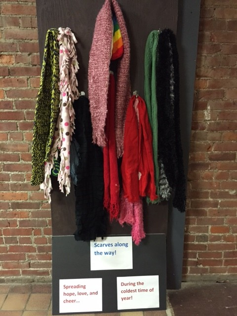 Once again, free scarves have appeared in downtown Oneonta, this time, in the walkway between Main Street and the Parking Garage. Lacey Layton, who hung scarves in Muller Plaza this past winter, worked with Russ Southard to hang hooks in the walkway so the scarves would stay dry. Those in need are encouraged to take a scarf free of charge, and those with extras are invited to hang scarves on the hooks.