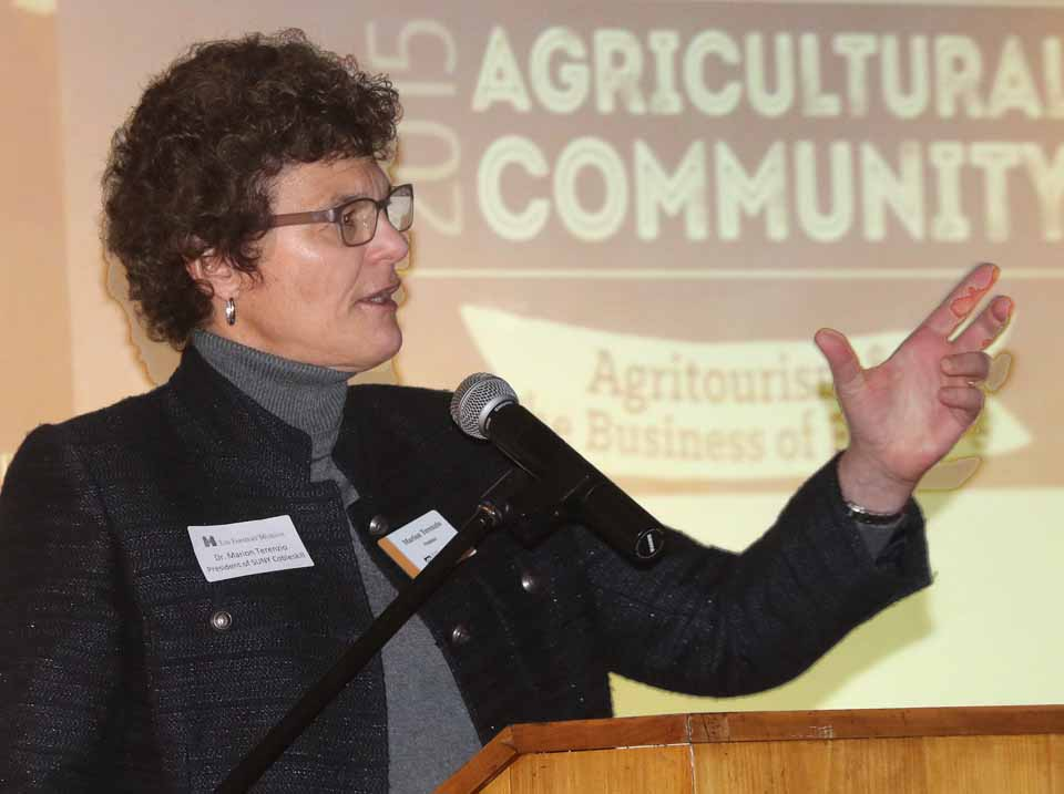 "Dr. Marion Terenzio, SUNY Cobleskill's new president, who has a background in music therapy, said her mandate includes ""putting the culture in agriculture."""