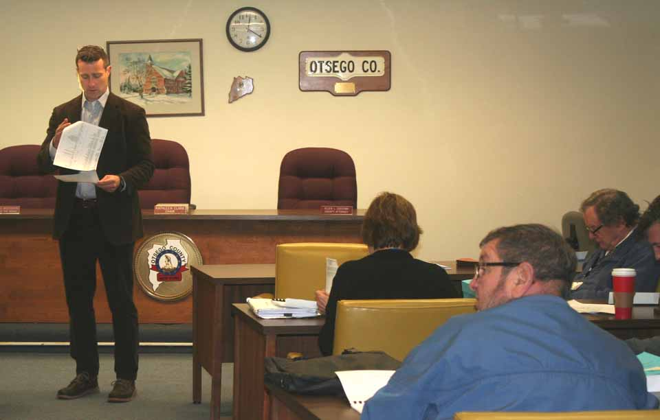 County Treasurer Dan Crowell discusses possible reductions of layoffs with county reps in this morning's work session. (Don Mathisen/AllOTSEGO.com)