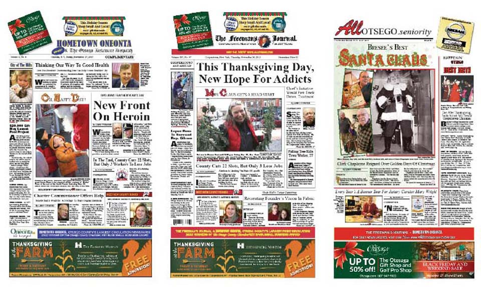 Two local initiatives to speed addicts into rehab – the Cooperstown PD's starts Thanksgiving Day; OPD's the first of the year – is gaining national attention, from the Associated Press to Sirius Radio and CBS News.  Get the details in this week's Hometown Oneonta and Freeman's Journal, on newsstands this afternoon.