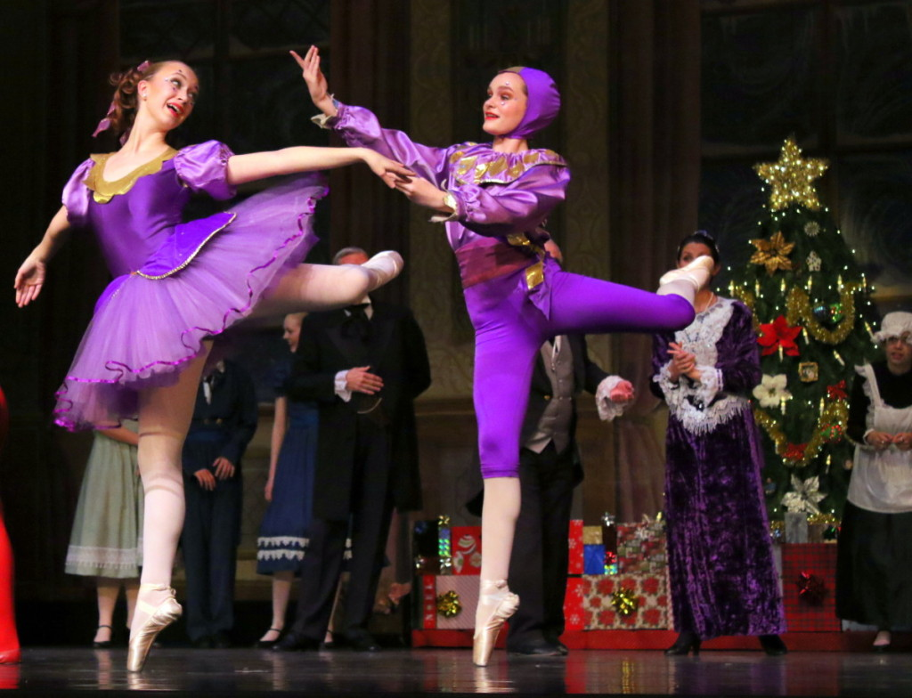 It's not the Holiday season without the Fokine Ballet's rendition of The Nutcracker at SUNY's Goodrich Theater! Here, magical harlequin dolls ( Sabrina Blacklock and Rose Wake) brought to life by Herr Drosselmeyer's golden key, begin to dance for the enjoyment of the children. The show opened Friday evening with two more performances Saturday at 1pm and 7pm. (Ian Austin/AllOTSEGO.com)