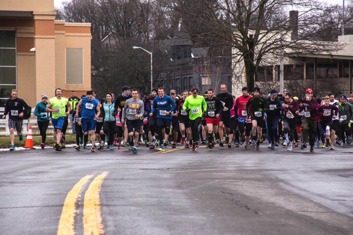 Runners in an Oneonta tradition – The Frostbite 5K – take off from in front of Foothills Performing Arts Center at 1 p.m. today. The race is sponsored by the Community Y. (Chris Eldred/AllOTSEGO.com)