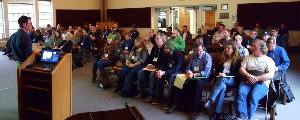 Farmers and brewers listen to Aaron MacLeold, Director of the Center for Craft Food & Beverage at Hartwick.