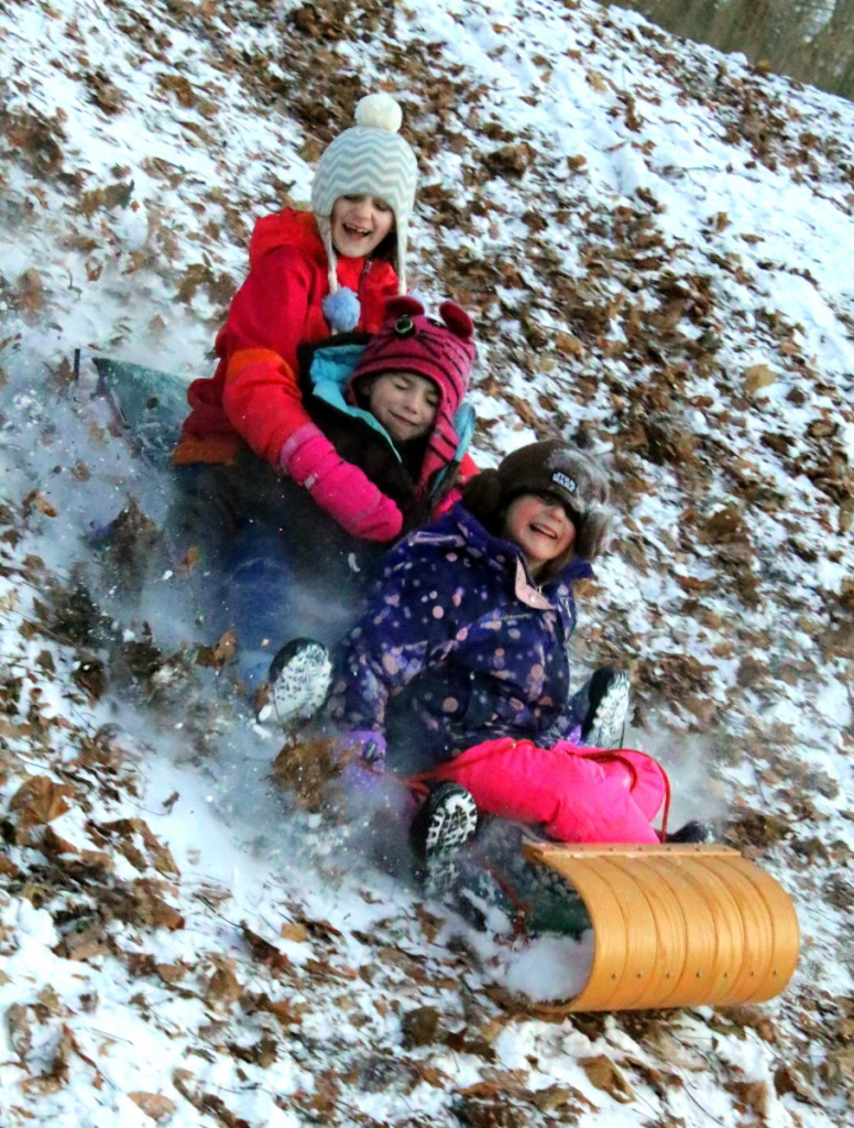Eveline Ainsworth, rear, goes tobogganing with Keira and Robin Brown, Oneonta, in Wilber Park on Monday afternoon.