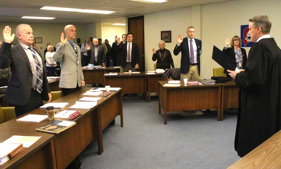 County Judge John Lambert this morning swears in the Otsego County Board of Representatives for two-year terms.